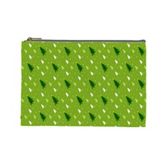 Green Christmas Tree Background Cosmetic Bag (Large)