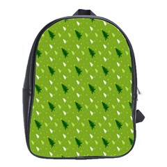 Green Christmas Tree Background School Bags(Large)
