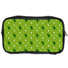 Green Christmas Tree Background Toiletries Bags