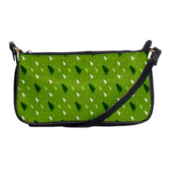 Green Christmas Tree Background Shoulder Clutch Bags