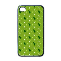 Green Christmas Tree Background Apple iPhone 4 Case (Black)