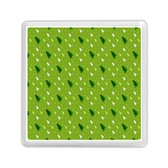 Green Christmas Tree Background Memory Card Reader (Square)
