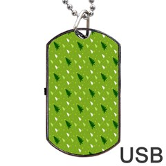 Green Christmas Tree Background Dog Tag USB Flash (One Side)