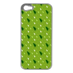 Green Christmas Tree Background Apple iPhone 5 Case (Silver)