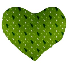 Green Christmas Tree Background Large 19  Premium Heart Shape Cushions