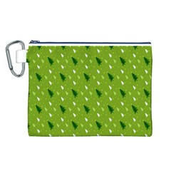 Green Christmas Tree Background Canvas Cosmetic Bag (L)
