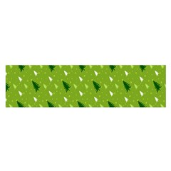 Green Christmas Tree Background Satin Scarf (Oblong)