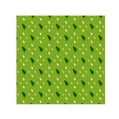 Green Christmas Tree Background Small Satin Scarf (Square)