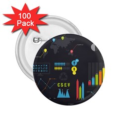 Graphic Table Symbol Vector Chart 2.25  Buttons (100 pack)