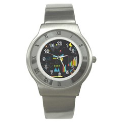Graphic Table Symbol Vector Chart Stainless Steel Watch