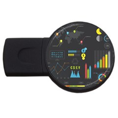 Graphic Table Symbol Vector Chart USB Flash Drive Round (4 GB)