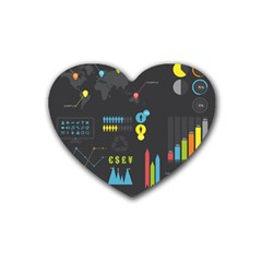 Graphic Table Symbol Vector Chart Rubber Coaster (Heart)