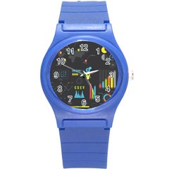 Graphic Table Symbol Vector Chart Round Plastic Sport Watch (S)