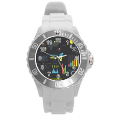 Graphic Table Symbol Vector Chart Round Plastic Sport Watch (L)
