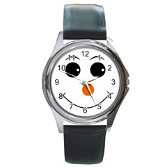 Happy Face With Orange Nose Vector File Round Metal Watch