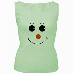 Happy Face With Orange Nose Vector File Women s Green Tank Top