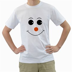 Happy Face With Orange Nose Vector File Men s T-Shirt (White) (Two Sided)