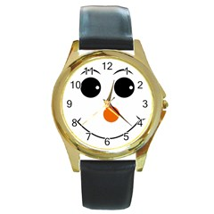 Happy Face With Orange Nose Vector File Round Gold Metal Watch