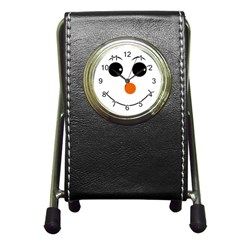 Happy Face With Orange Nose Vector File Pen Holder Desk Clocks