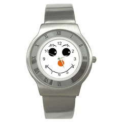 Happy Face With Orange Nose Vector File Stainless Steel Watch