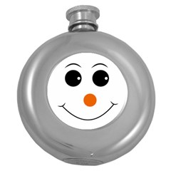 Happy Face With Orange Nose Vector File Round Hip Flask (5 oz)