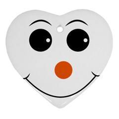 Happy Face With Orange Nose Vector File Heart Ornament (Two Sides)