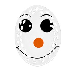 Happy Face With Orange Nose Vector File Oval Filigree Ornament (Two Sides)