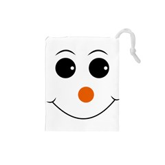 Happy Face With Orange Nose Vector File Drawstring Pouches (Small)