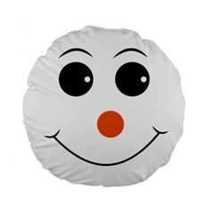 Happy Face With Orange Nose Vector File Standard 15  Premium Flano Round Cushions