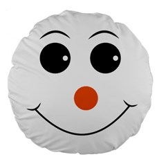 Happy Face With Orange Nose Vector File Large 18  Premium Flano Round Cushions