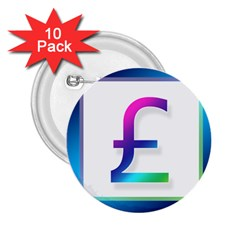 Icon Pound Money Currency Symbols 2.25  Buttons (10 pack)