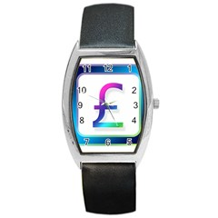 Icon Pound Money Currency Symbols Barrel Style Metal Watch