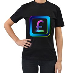 Icon Pound Money Currency Symbols Women s T-Shirt (Black) (Two Sided)