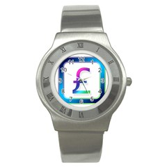 Icon Pound Money Currency Symbols Stainless Steel Watch