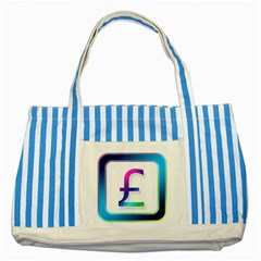 Icon Pound Money Currency Symbols Striped Blue Tote Bag