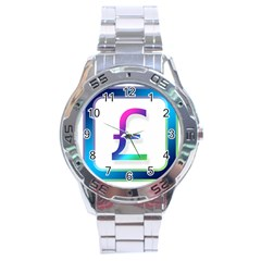 Icon Pound Money Currency Symbols Stainless Steel Analogue Watch