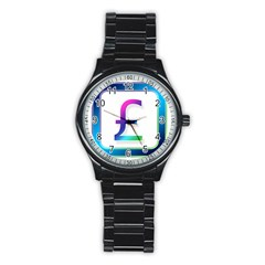 Icon Pound Money Currency Symbols Stainless Steel Round Watch