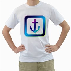 Icon Anchor Containing Fixing Men s T-Shirt (White) (Two Sided)