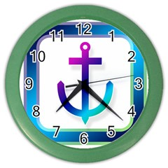 Icon Anchor Containing Fixing Color Wall Clocks