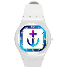Icon Anchor Containing Fixing Round Plastic Sport Watch (m)