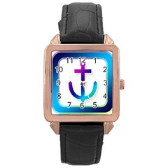 Icon Anchor Containing Fixing Rose Gold Leather Watch