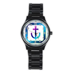 Icon Anchor Containing Fixing Stainless Steel Round Watch