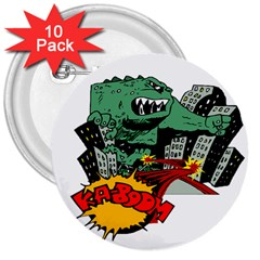 Monster 3  Buttons (10 Pack)