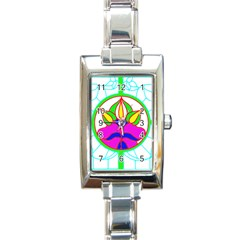 Pattern Template Stained Glass Rectangle Italian Charm Watch