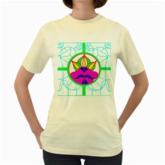 Pattern Template Stained Glass Women s Yellow T-Shirt