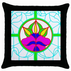 Pattern Template Stained Glass Throw Pillow Case (Black)