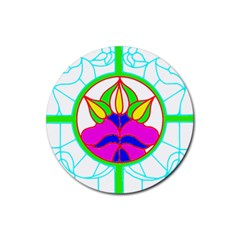 Pattern Template Stained Glass Rubber Coaster (Round)