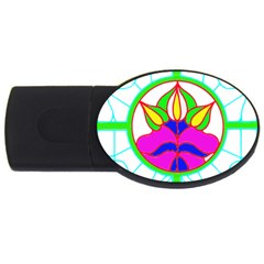 Pattern Template Stained Glass USB Flash Drive Oval (1 GB)
