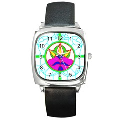 Pattern Template Stained Glass Square Metal Watch