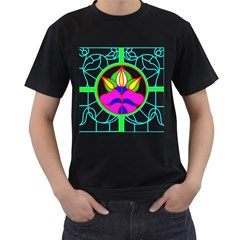 Pattern Template Stained Glass Men s T-Shirt (Black) (Two Sided)